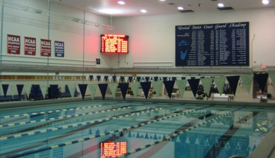 u.s. coast guard academy swimming scoreboard with text and animations