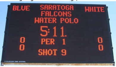 saratoga high school swimming scoreboard with text and animations, water polo scoreboard