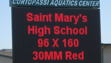 saint mary's high school swimming scoreboard with text and animations