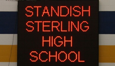 standish sterling high school swimming scoreboard with text and animations