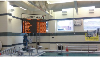 summit area ymca swimming scoreboard with text and animations