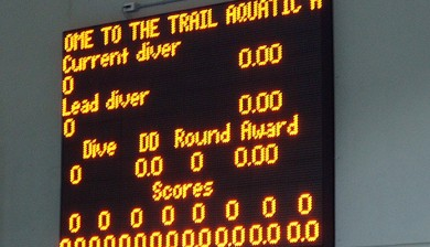 trail aquatic and leisure center swimming scoreboard with text and animations, diving scoreboard