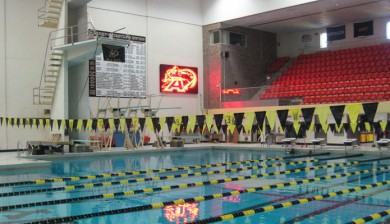 west point military academy swimming scoreboard with text and animations
