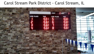swimming scoreboard at carol stream park district