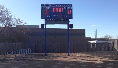 football scoreboard at liberty common high school