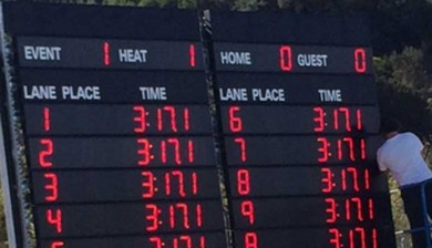 swimming scoreboard at miramonte high school