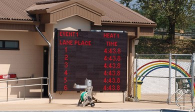 camp carroll swimming scoreboard with animations