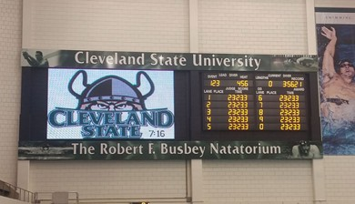 Cleveland State University swimming scoreboard and video display