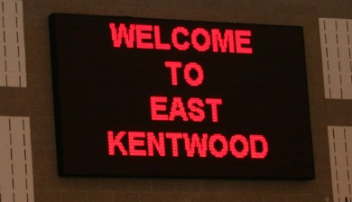 east kentwood high school swimming scoreboard with text and animations
