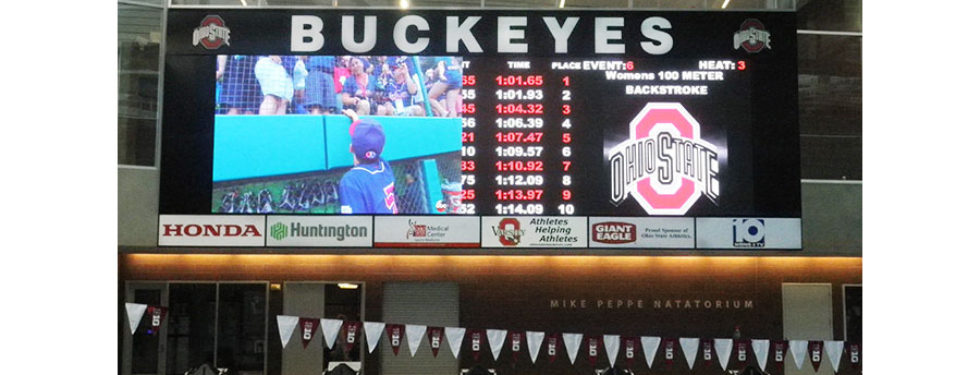 Ohio State University video display and swimming scoreboard
