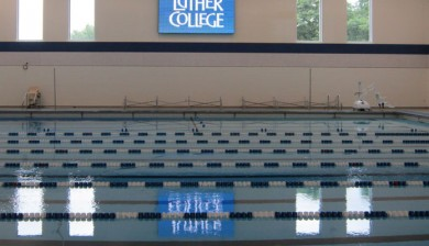 luther college swimming video scoreboard
