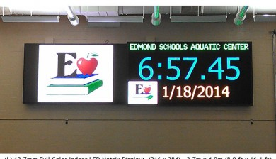 edmond recreation center swimming video scoreboard