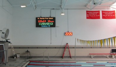 St. charles preparatory school swimming video scoreboard
