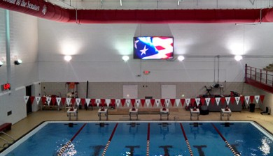 davis and elkins college swimming video scoreboard