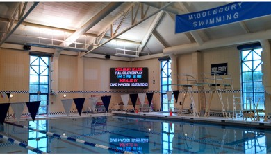 middleberry college swimming video scoreboard
