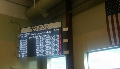 west river community center swimming video scoreboard