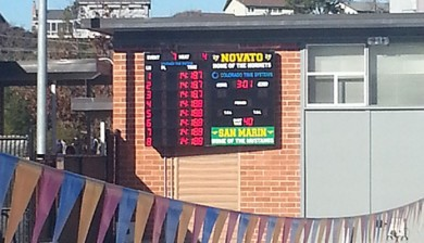 novato high school swimming scoreboard water polo scoreboard