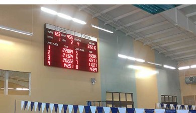 swimming scoreboard at bentonville aquatic center