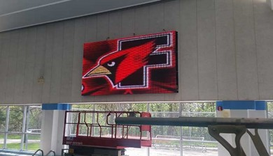 video display and swimming scoreboard at Fond Du Lac Community Aquatic Center