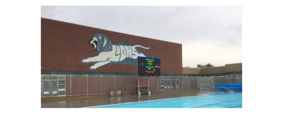 Cathedral City High School 20mm Full Color Outdoor LED Matrix Video Display and Swimming Scoreboard