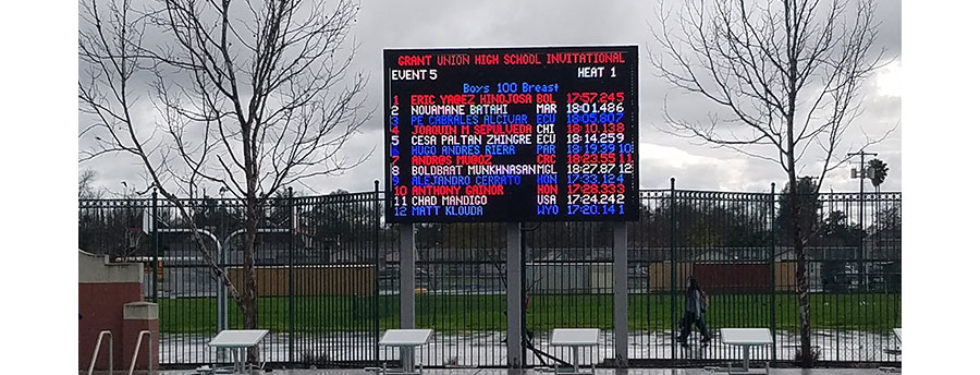 Grant Union High School 20mm video display and swimming scoreboard