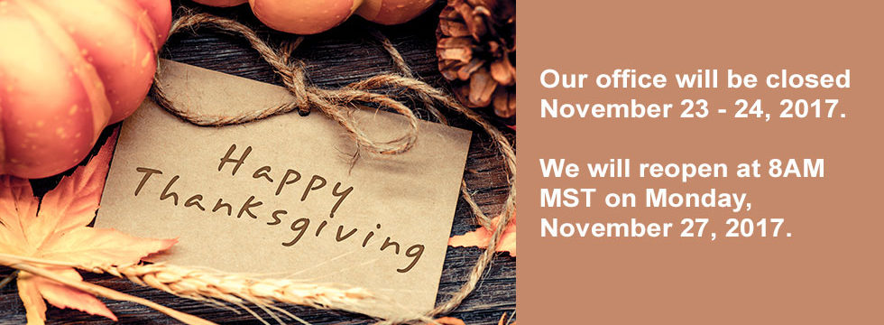 Colorado Time Systems Thanksgiving closure